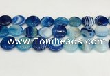 CAA4617 15.5 inches 18mm flat round banded agate beads wholesale