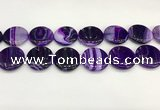 CAA4629 15.5 inches 25mm flat round banded agate beads wholesale