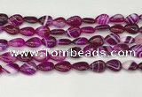 CAA4688 15.5 inches 10*14mm flat teardrop banded agate beads wholesale