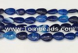 CAA4715 15.5 inches 15*20mm flat teardrop banded agate beads wholesale