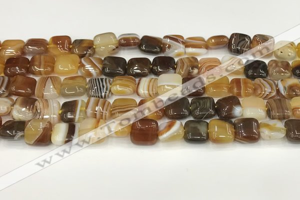 CAA4726 15.5 inches 10*10mm square banded agate beads wholesale