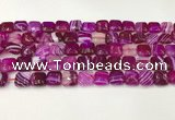 CAA4728 15.5 inches 10*10mm square banded agate beads wholesale