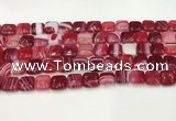 CAA4729 15.5 inches 10*10mm square banded agate beads wholesale