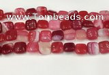 CAA4737 15.5 inches 12*12mm square banded agate beads wholesale
