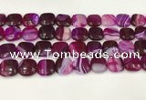 CAA4743 15.5 inches 14*14mm square banded agate beads wholesale