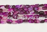 CAA4791 15.5 inches 10*14mm rectangle banded agate beads wholesale