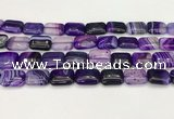 CAA4798 15.5 inches 12*16mm rectangle banded agate beads wholesale