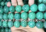CAA5027 15.5 inches 18mm round green dragon veins agate beads