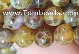 CAA5037 15.5 inches 6mm round yellow dragon veins agate beads
