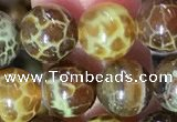 CAA5038 15.5 inches 8mm round yellow dragon veins agate beads
