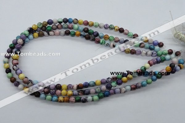 CAA51 15.5 inches 6mm round dyed white agate gemstone beads