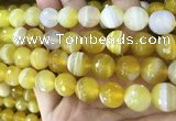 CAA5155 15.5 inches 16mm faceted round banded agate beads