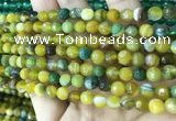 CAA5164 15.5 inches 6mm faceted round banded agate beads