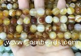 CAA5171 15.5 inches 6mm faceted round banded agate beads