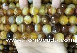 CAA5174 15.5 inches 12mm faceted round banded agate beads