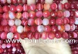 CAA5200 15.5 inches 8mm faceted round banded agate beads