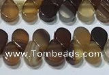 CAA5304 Top drilled 6*8mm flat teardrop line agate beads