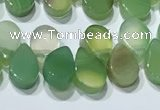 CAA5306 Top drilled 6*8mm flat teardrop line agate beads