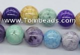 CAA55 15.5 inches 14mm round dyed white agate gemstone beads