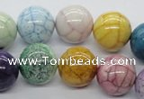 CAA56 15.5 inches 16mm round dyed white agate gemstone beads