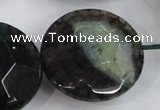CAA566 15.5 inches 35mm faceted flat round dragon veins agate beads