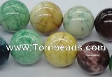 CAA57 15.5 inches 18mm round dyed white agate gemstone beads