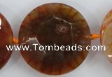CAA571 15.5 inches 35mm faceted flat round dragon veins agate beads