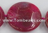 CAA576 15.5 inches 45mm faceted flat round dragon veins agate beads
