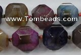 CAA609 15.5 inches 15*15mm faceted nuggets dragon veins agate beads