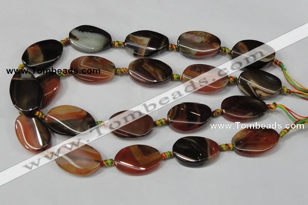 CAA689 15.5 inches 20*30mm twisted oval agate gemstone beads