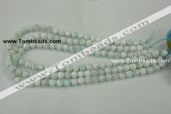 CAA710 15.5 inches 8mm faceted round fire crackle agate beads