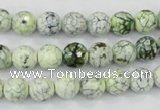CAA712 15.5 inches 8mm faceted round fire crackle agate beads