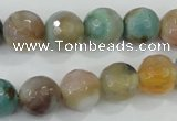 CAA719 15.5 inches 12mm faceted round fire crackle agate beads