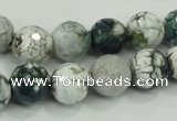 CAA720 15.5 inches 12mm faceted round fire crackle agate beads