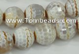 CAA724 15.5 inches 14mm faceted round fire crackle agate beads