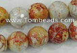 CAA729 15.5 inches 14mm faceted round fire crackle agate beads