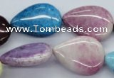 CAA73 15.5 inches 18*25mm flat teardrop dyed white agate beads