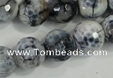 CAA730 15.5 inches 16mm faceted round fire crackle agate beads