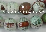 CAA731 15.5 inches 16mm faceted round fire crackle agate beads