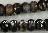 CAA732 10*14mm faceted rondelle fire crackle agate beads