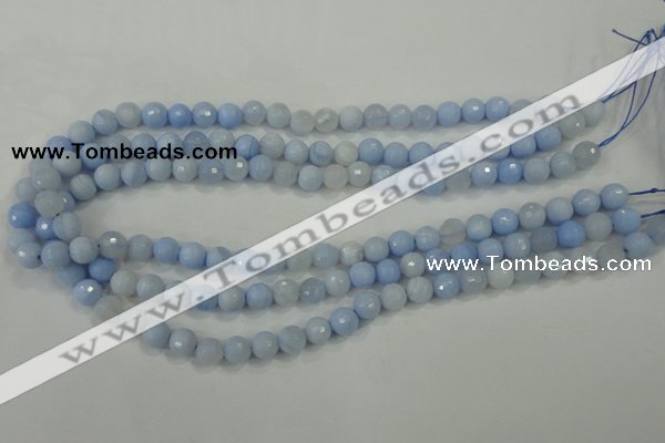 CAA735 15.5 inches 6mm faceted round blue lace agate beads wholesale