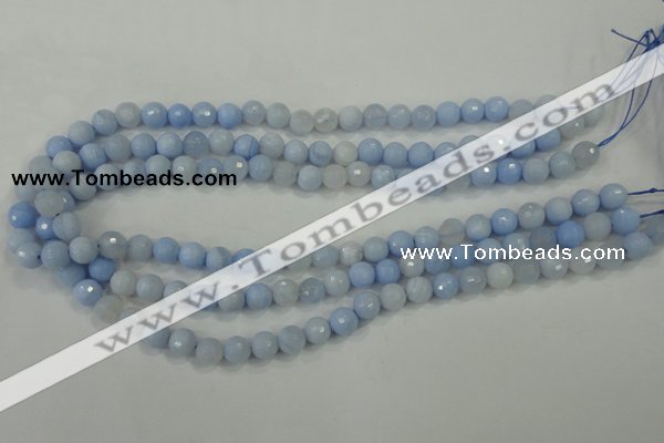 CAA736 15.5 inches 8mm faceted round blue lace agate beads wholesale