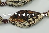 CAA758 15.5 inches 20*40mm twisted marquise wooden agate beads
