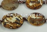CAA760 15.5 inches 14*18mm twisted oval wooden agate beads