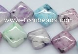 CAA78 15.5 inches 14*14mm diamond dyed white agate gemstone beads
