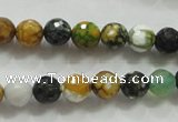 CAA791 15.5 inches 8mm faceted round fire crackle agate beads