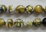 CAA797 15.5 inches 10mm faceted round fire crackle agate beads