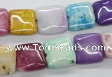 CAA80 15.5 inches 14*14mm square dyed white agate gemstone beads