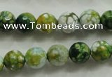 CAA801 15.5 inches 10mm faceted round fire crackle agate beads