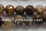 CAA802 15.5 inches 12mm faceted round fire crackle agate beads